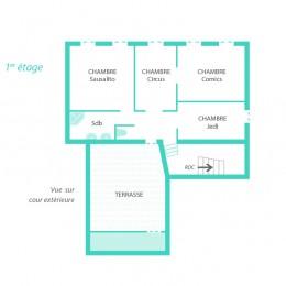Plan du 1 er étage de la maison Fabel