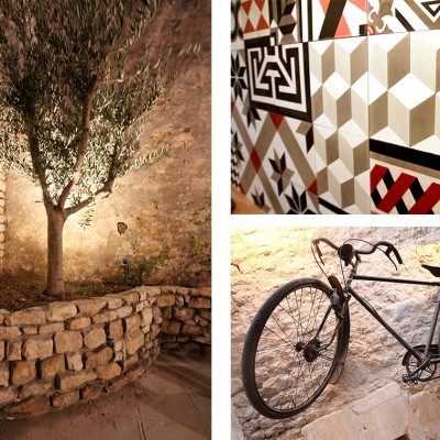 L'olivier dans la cour, les carreaux de ciments de la cuisine & le vélo suspendu de 1900