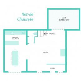 Plan du rez-de-chaussée de la maison Ispagne